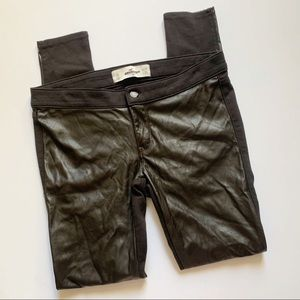 Hollister• dark brown faux leather front skinnies